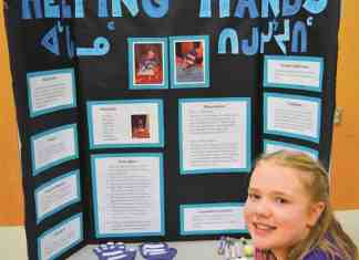 Kayalaaq Leishman-Brocklebank took top spot overall with her project, Helping Hands, on helping the disabled at the Victor Sammurtok School Elementary Science Fair in Chesterfield Inlet on Dec. 4, 2018. Photo courtesy Rob Humby