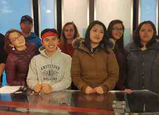 Nunavut's Youth Ambassador Program will be on the ground at the Canada Winter Games in Red Deer, Alta., to help out with activities during week two. They are, from left, Matthew Ford-Rogers of Rankin Inlet, Tanya Tugak of Rankin Inlet, Donald Mullins of Chesterfield Inlet, Shaun Nauyuk of Iqaluit, Katrina Anderson of Rankin Inlet, Sylvia Kablutsiak of Arviat, Melanie Qaqqasiq of Naujaat, Jewel Kuksuk of Arviat and Carla Kaayak of Baker Lake. Missing from the photo is Alesha Tiglik of Iqaluit. photo courtesy of Alison Griffin