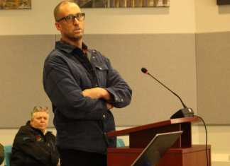 Jordan Harker, the man proposing to build a cannabis facility in Yellowknife, stood before city council Monday to answer questions about how the venture would operate. Brett McGarry/NNSL Photo