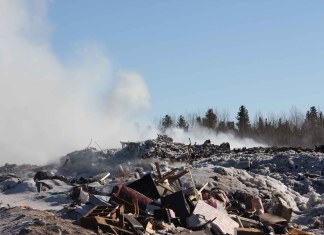 The fire at the Hay River landfill site, which began on March 3, was still burning as of March 16. Paul Bickford/NNSL photo