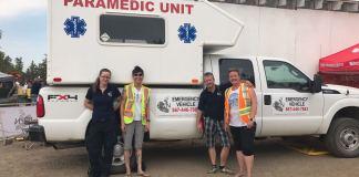 Matt Vincent often donates supplies, medics and vehicles to various events around Yellowknife, as seen here at Folk on the Rocks 2018. From the left, Geraldine Maloney (EMT) Betty Anne Nickerson (EMR) Matt Vincent (Ceo/EMT-P) Carolyn Ridgley (RN BN). Courtesy of Matt Vincent