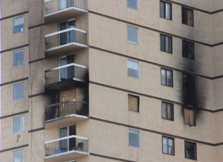 The damage to the Mackenzie Place highrise from a March 15 fire on the 11th floor is apparent from the outside of the building. Paul Bickford/NNSL photo