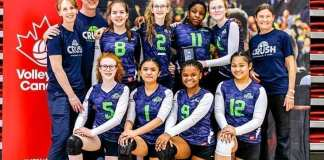 The Crush Volleyball Club's 14U girls outfit made the trip to Ottawa last weekend to compete at the Volleyball Canada 14U National Championships. They are, front row from left, Gracie Brennan, Thea Marzan, Naledi Ndlovu and Rica Salaboro; back row from left, coach Jeannie Mathison, coach Mike Mathison, Hannah Gillingham, Tamara Mathison, Oleta Duru, Andrea Geraghty and coach Gail Christie. photo courtesy of Jeannie Mathison