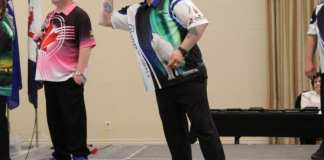 Keith Way, seen during the men's doubles final of the Adult National Darts Championships in Saskatoon on Tuesday, has qualified for the World Masters darts tournament happening later this year in England. photo courtesy of Keith Bourque