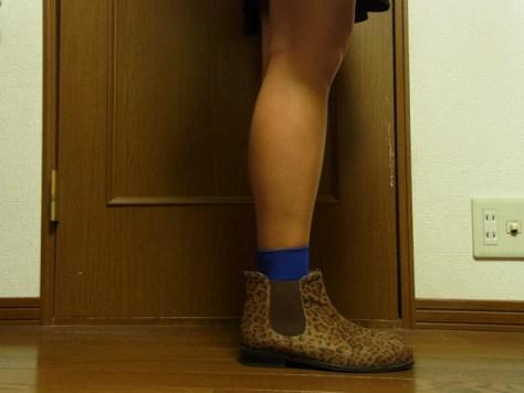 靴下屋のハイカット ナイロン靴下 青