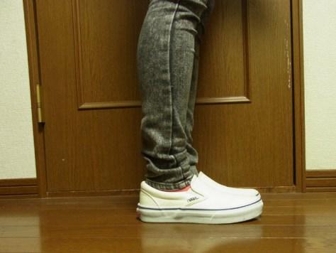靴下屋のハイカット ナイロン靴下 ピンク×パンツ