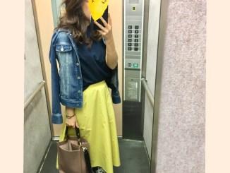 身長158cmコーデ guの黄色のロングスカート