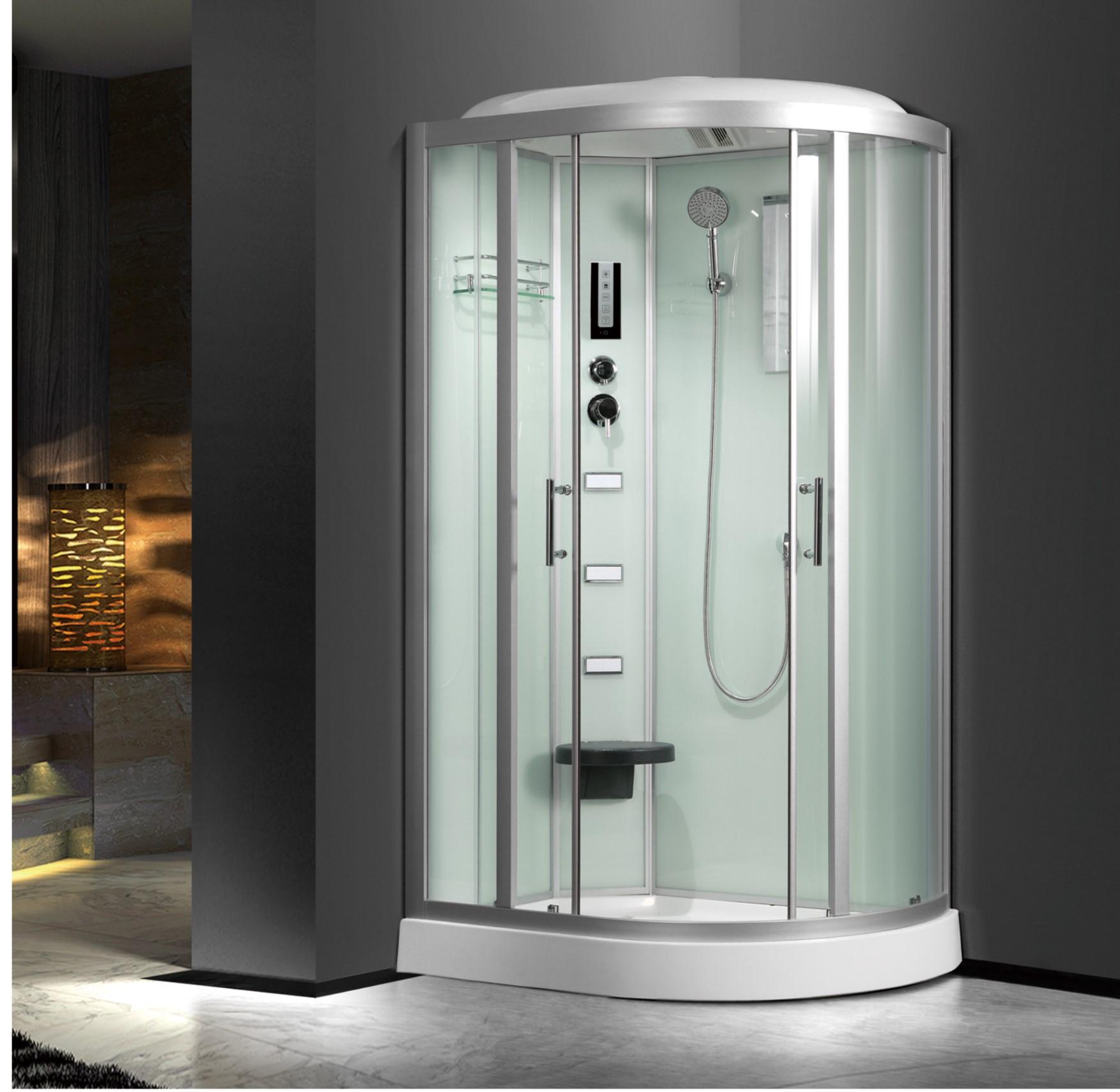 Kina R Shape Corner Glass Dusjkabinett Med Sitte Og