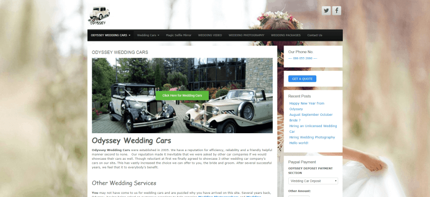 Odyssey Wedding Cars home page