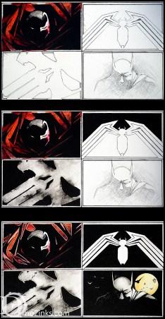 Spawn, Venom logo, Punisher logo, and batman