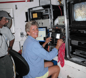 NOAA Teacher at Sea, Lynn Swiger, takes the controls of the ROV aboard the LIBERTY STAR