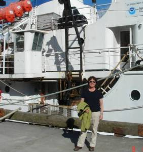 Anchorage high school teacher, Katie Turner, arrives at the pier in Dutch Harbor, Alaska