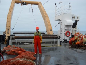 On the fish deck in my work clothes