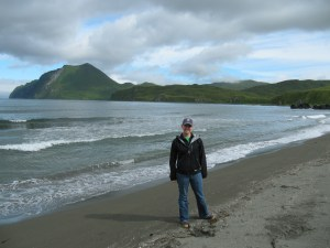 Enjoying the beach at Summer Bay in Humpy Cove. In 1997 this was the site of a 47,000 gallon oil spill.