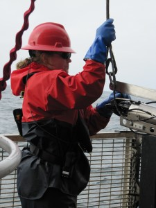 Kathy is busy on the hero deck connecting plankton nets to be lowered over the side.