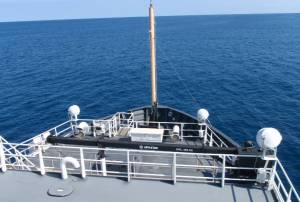 View from the Pisces bridge: calm seas