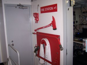 People are trained to be on the ship's Fire Department. We have fire drills on the Oregon II.