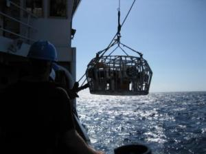 "Camera Array being ""dropped"" into the ocean by a crane"