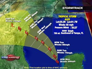 Stormtrack of Tropical Storm Alex