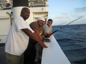 The crew fishing