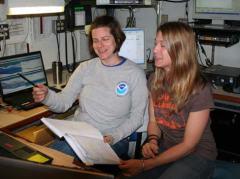 Lisa Bonacci, chief scientist and Melanie Johnson, fishery biologist in the Freeman's acoustics lab