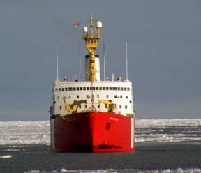 Close-up of the Louis S. St. Laurent collecting data behind the Healy