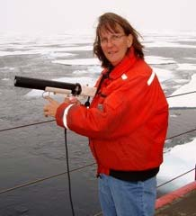 Here I am deploying the XBT into the Arctic.