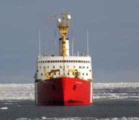 Blue Sky in the Arctic! This is the CCGS Louis S. St. Laurent. The Healy is breaking ice for her.