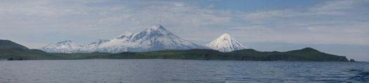 Panorama of Pavlof Volcano and Pavlof Sister