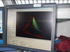This is a screen that is read by the hydrographers that shows the 3-D sonar images of the bottom of the sea floor.  Today, some of our readings were more than 500ft deep. WOW!