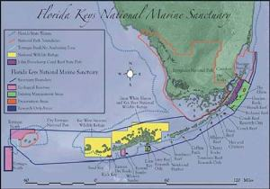 A map of the Florida Keys National Marine Sanctuary