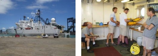 The R/V Kilo Moana (left) and Dr. Plueddeman, Paul Lethaby, Sean Whelan and Dr. Roger Lukas (right).