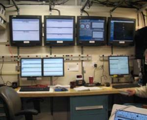 This is the acoustics lab. The top screens are displayed in the bottom monitors as needed. The top two left monitors show the acoustic return from the 5 frequencies (pings) sent out.