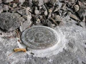 A benchmark on the Alaskan coastline