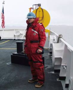 Here I am learning to withstand the cold in my Arctic survival suit.