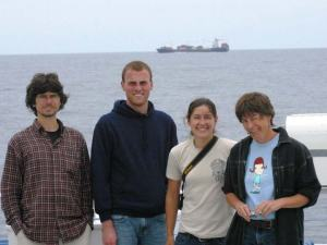 Group watching a ship on the horizon