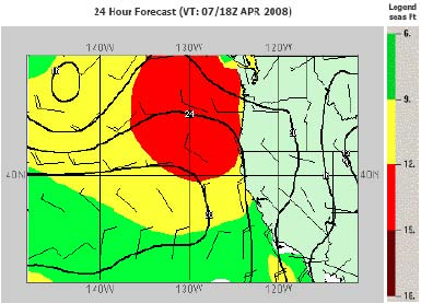 A 24-hour forecast of sea conditions for April 7, 2008 off the West Coast of the United States. The red section indicates swells that range from 12 to 15 feet.