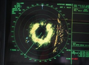 Low resolution radar image of the storm system that postponed cruise operations