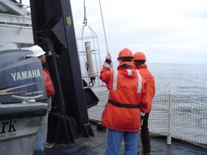 The FAIRWEATHER crew getting ready to lower the CTD device into the ocean