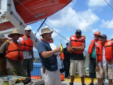 The crew of the KA'IMIMOANA conduct an abandon-ship drill.