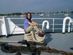 Jill Carpenter, Teacher at Sea, on the bow of the NOAA ship DELAWARE II.