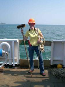 TAS Jill Carpenter working hard aboard NOAA ship DELAWARE II.