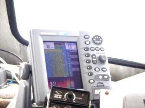 View of radar screen at coxswain's station on survey boat.