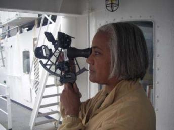 TAS Jacquelyn Hams using a sextant