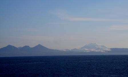 Snow covered Mt. Chiginagak on the Alaskan Peninsula