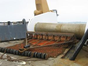 This is the standard dredge used on the ALBATROSS IV. This dredge is extremely important in collecting sea scallops from the ocean.