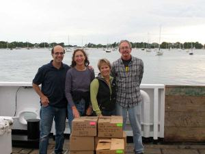 Jerry Prezioso, Amy Pearson, Kim Pratt, Joe Kane with 1 weeks worth of plankton samples collected during the southern leg of Ecosystem Cruise