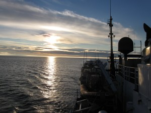 The sun rising as we finished our transit back to Kodiak.