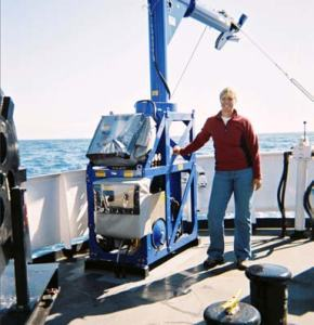 """""""FISH"""" winch. Instrument attached collects sound velocity data."""