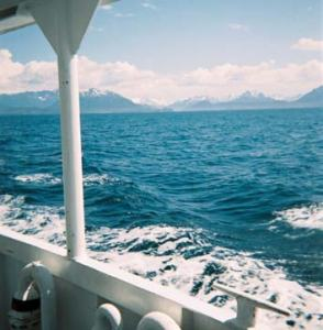 View from vessel during bottom sampling operations.